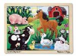 CHILDRENS CHILD MELISSA AND DOUG WOODEN ON THE FARM 12 PIECE JIGSAW PUZZLE